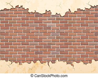 old shabby concrete and brick cracks, vector background