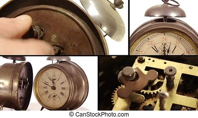 Old alarm clocks collage - Vintage alarm clocks and cog