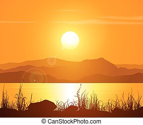 Sunset in the Rocky Mountains Vector illustration