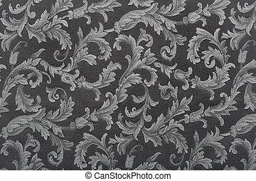 Damask, black fabric background
