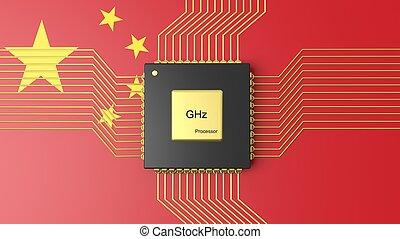 computer, CPU, con, bandiera, di, Cina, fondo,
