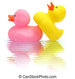 Funny rubber duck couple making love