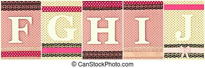 Wooden letters F G H I J on polka dots background