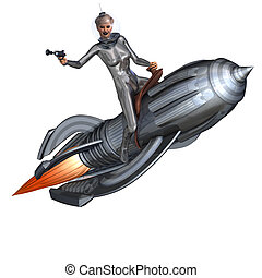 silver pin-up girl riding on a retro rocket - 3D rendering...