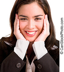 Young Business Woman Pleasantly Surprised