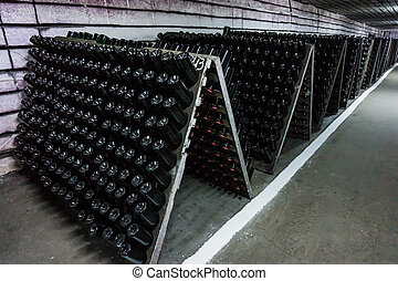 wine bottles in wine cellar