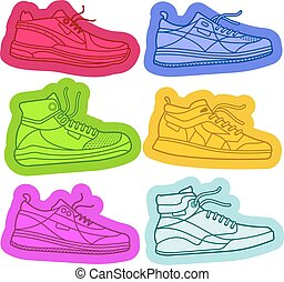 Sneakers01 - Sneakers, sport shoes, texture, silhouettes,...