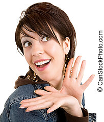 Woman Pleasantly Surprised about Something - A woman is...