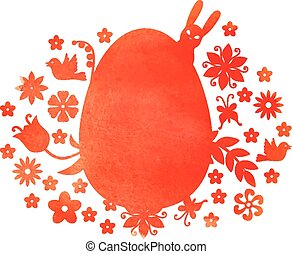 Easter watercolor decorative egg