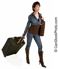 Young Lady Pulling her Luggage
