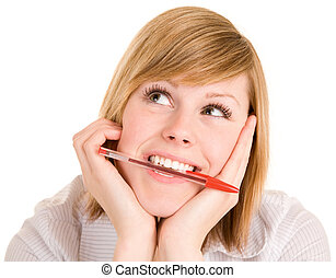 Girl Biting on Pen While in Deep Thought and Looking Up -...