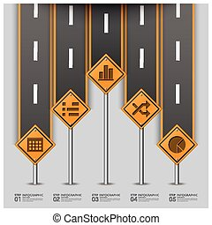 Road And Street Traffic Sign Business Infographic Design...