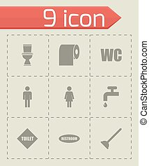 Vector toilet icon set on grey background