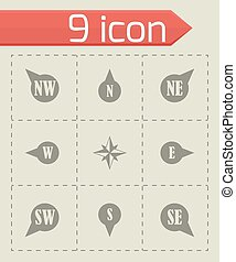Vector wild rose icon set on grey background