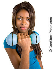 African American Girl Lifting Weights