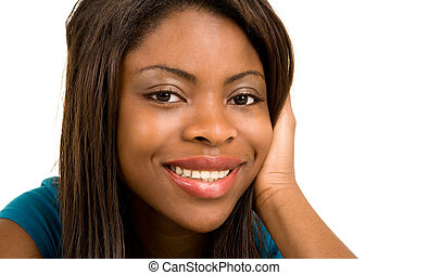 Face Close-up of a Beautiful African American Lady - A...