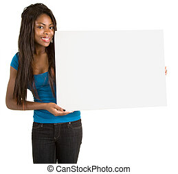 African American Woman Holding a Blank White Sign - A...