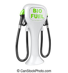 Bio fuel concept with petrol pump machine Isolated 3d image...