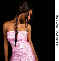 Beautiful African American Lady Looking on her Side - A...