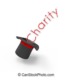 Charity - Three-dimensional illusionist's top hat on white...