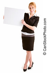 Beautiful Young Woman Holding a Blank White Sign
