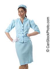 female flight attendant on white