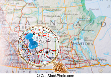 Looking in on Calgary, Alberta, Canada - Blue tack on map of...