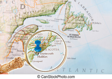 Halifax, Nova Scotia, Canada - Blue tack on map of Canada...