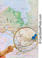Looking in on Ottawa, Ontario, Canada - Blue tack on map of...