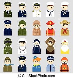 People Icons Officer & Uniform - People Occupation Symbol...