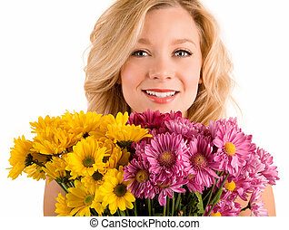Receiving Flowers - A young pretty woman has just received...