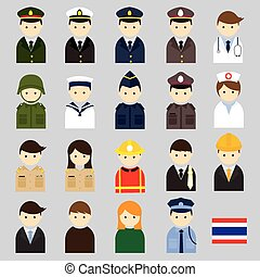 Various Thai People and Officer - People Occupation Symbol...