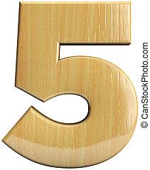 木制, 五,  5,  -, 數字