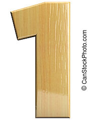 Wooden letter 1 - Wooden number 1 one Wood character...