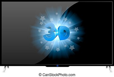 Modern TV set with 3D sign isolated on white background.