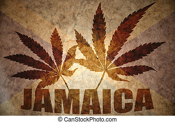 Vintage jamaican flag - text jamaica with cannabis leafs on...