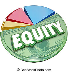 Equity 3d Word Pie Chart Stocks Equities Loan Balance...