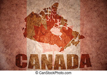 Vintage canada map - canada map on a vintage canadian flag...