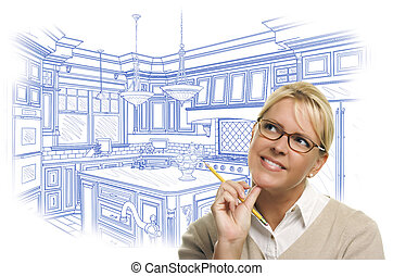 Woman With Pencil Over Custom Kitchen Design Drawing -...