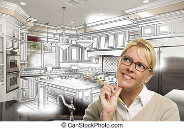 Woman With Pencil Over Custom Kitchen Design Drawing and...