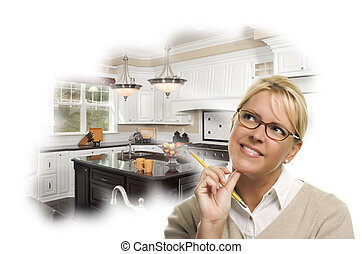 Daydreaming Woman With Pencil Over Custom Kitchen Photo...