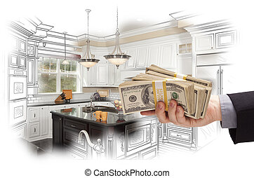 Hand Holding Cash Over Kitchen Design Drawing and Photo...