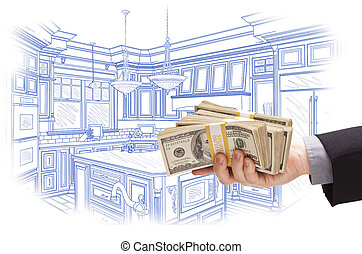Hand Holding Cash Over Custom Kitchen Design Drawing - Hand...