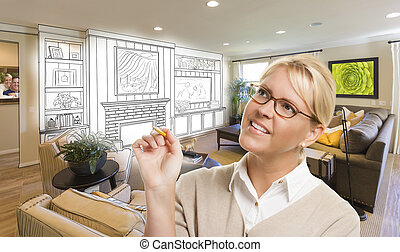 Woman with Pencil Over Custom Room and Design Drawing -...