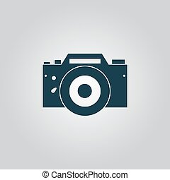 Digital photo camera Flat web icon, sign or button isolated...