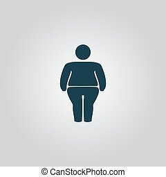 Overweight man symbol Flat web icon, sign or button isolated...