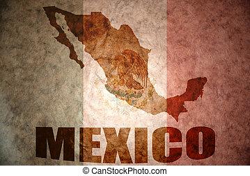 Vintage mexico map - mexico map on a vintage mexican flag...