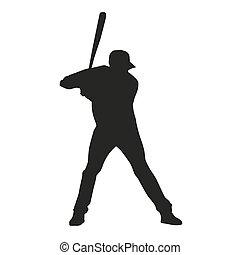 Honkbal, player., Vector, silhouette,