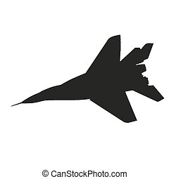 Jet fighter. Airplane vector silhouette