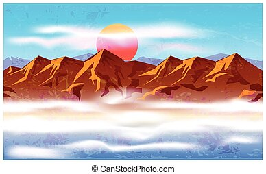 peaks in the haze and clouds - Stylized vector illustration...